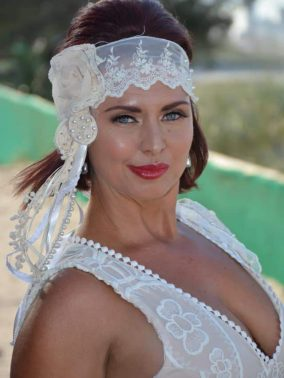 Gatsby Headband Cream with Pearls | Purity Lace Designs