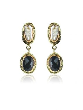 Biwa Pearl/Black Onyx Brass drop Earrings | Purity Lace Designs
