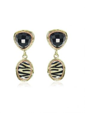 Zebra Onyx Gold/Black semi precious stones Earrings | Purity Lace Designs