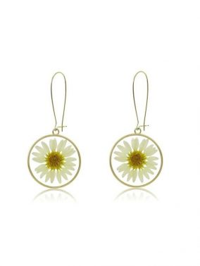 Daisy flower set in resin round drop Earrings | Purity Lace Designs
