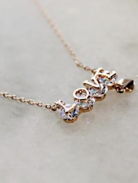 Love 14K Rose Gold Necklace | Purity Lace Designs