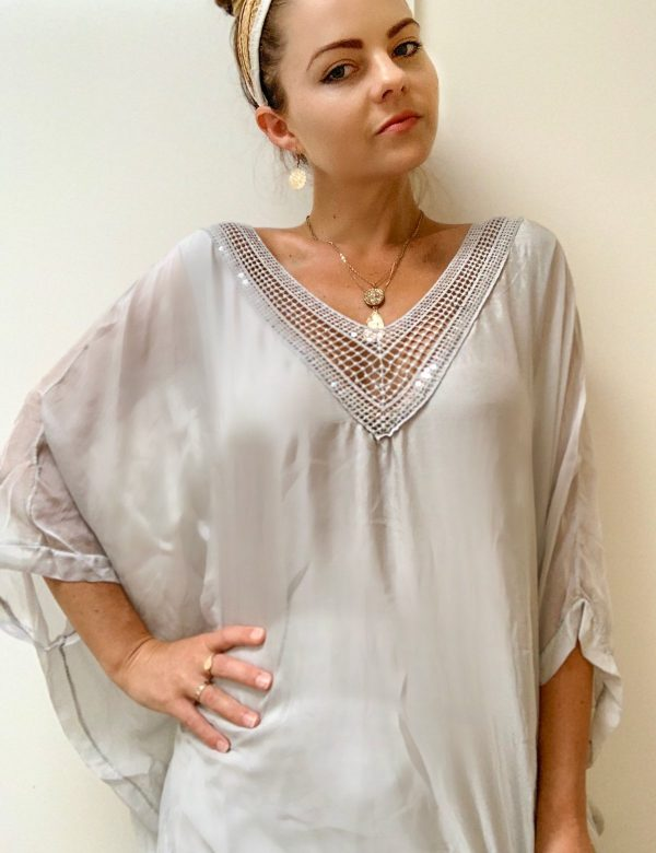 Anna Top Cotton/Silk Crochet Neck Top | Purity Lace Designs