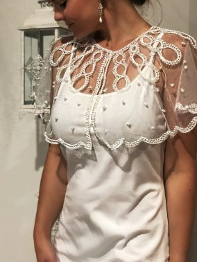 White Pearl Lace Shoulder Cape - Purity Lace Designs