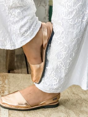 Leather Avarca Sandals METALLIC ROSE GOLD - PONS | Purity Lace Designs