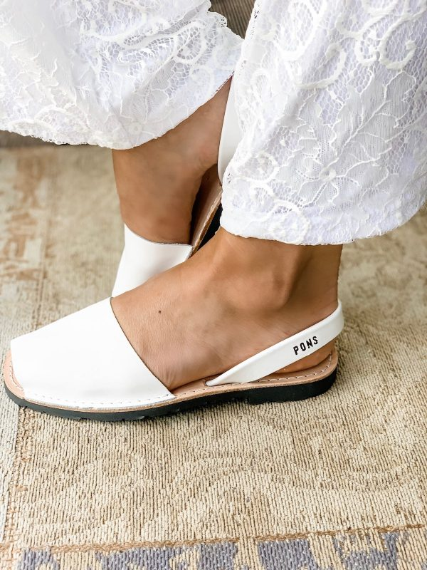 Leather Avarca Sandals WHITE - PONS | Purity Lace Designs