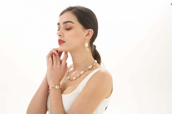 Gold Shell Earrings | Purity Lace Designs