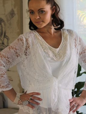 White French Lace 3/4 Sleeve Jacket - Purity Lace Designs