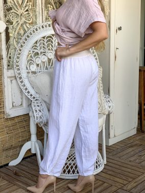 Amalfi Linen Pants White | Purity Lace Designs