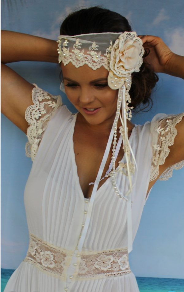 Gatsby Headband Cream with Pearls - Purity Lace Designs