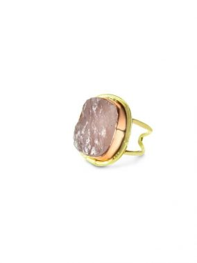 Rose Quartz Druzy Gold Ring semi precious stone adjustable | Purity Lace Designs