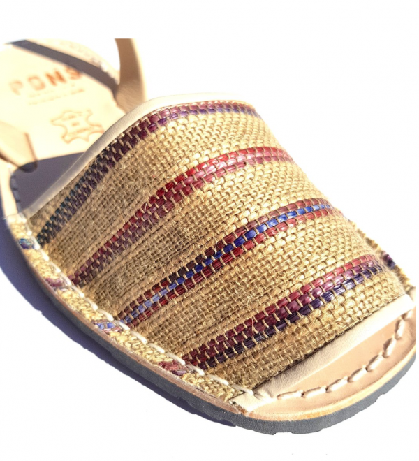 Avarca Sandals Leather Boho Cala Natural Stripe - PONS | Purity Lace Designs