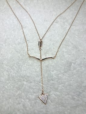 Cupids Bow 14K Rose Gold  Necklace - Purity Lace Designs