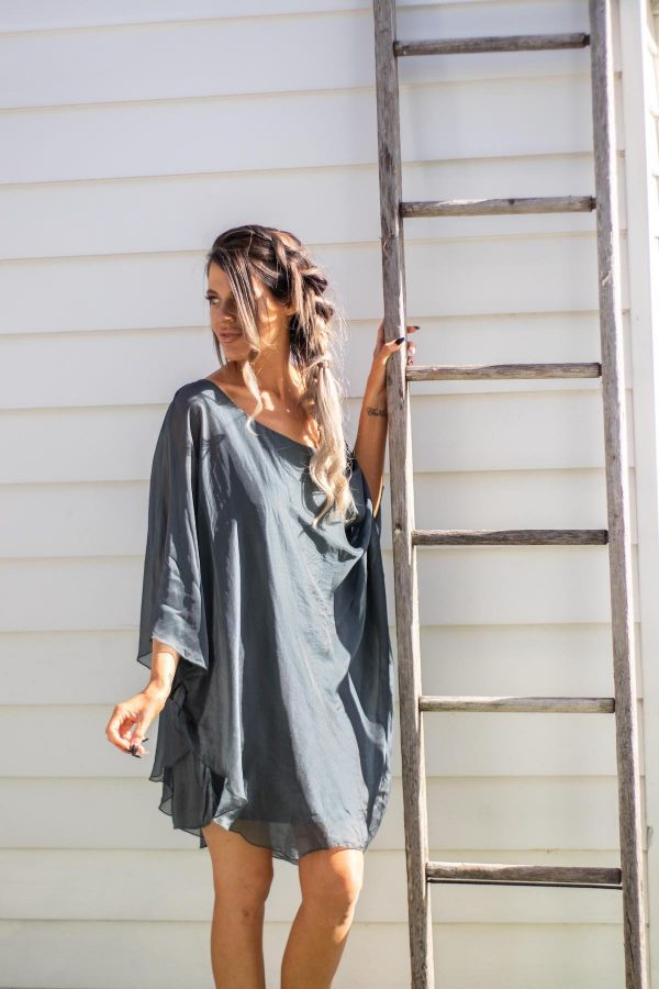 Elyse Blouse Steel Grey   Purity Lace Designs