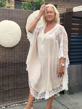 Beige Miriam Kaftan - Purity Lace Designs
