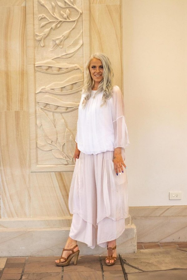 Evelyn Pink Silk Pants | Purity Lace Designs