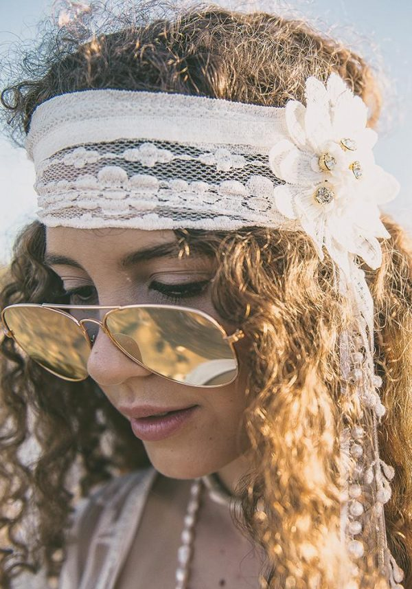 Gatsby Headband White with Bling - Purity Lace Designs