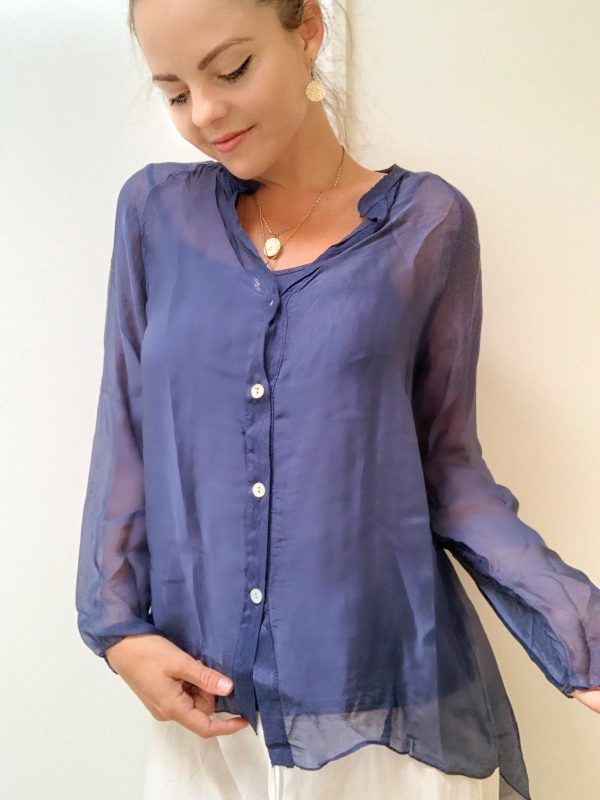 Scarlett Navy Blouse | Purity Lace Designs